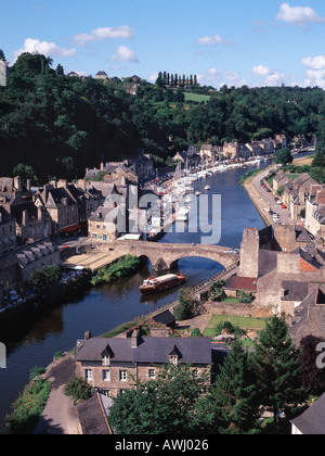 Looking down on the old port of medieval Dinan on the River Rance in Brittany, France - Stock Photo