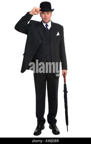 A city gent in three piece pinstriped suit carrying an umbrella and raising his bowler hat against a white background - Stock Photo