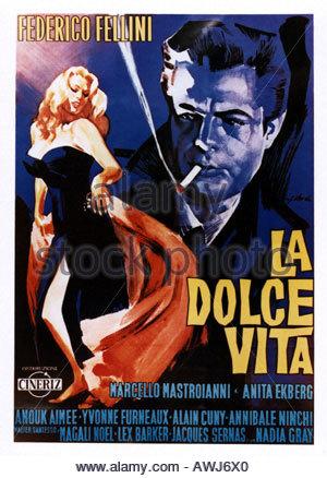 LA DOLCE VITA poster for the 1960 Riama film with Anita Ekberg and Marcello Mastroianni - Stock Photo