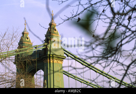 A telephoto view of Hammersmith suspension Bridge in West London on the river Thames, England, UK - Stock Photo