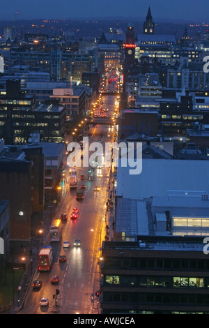 Aerial view north up Oxford Road towards Manchester city centre UK - Stock Photo