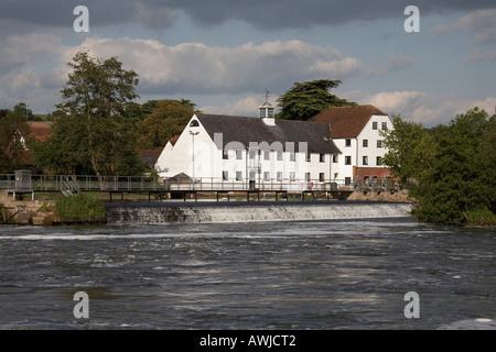 Hambleden Mill with weather vain on Hambleden lock wier near Henley on Thames - Stock Photo