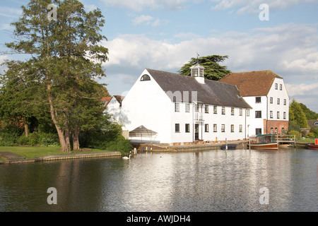 Hambleden Mill with weather vain on wier near Henley on Thames on River Thames - Stock Photo