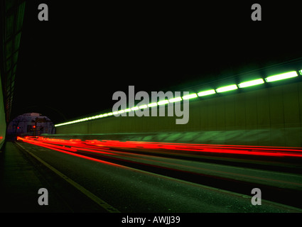 Light trails in tunnel - Stock Photo