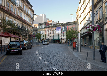 A theater in Porto Portugal called Teatro sá da Bandeira On the left is the famous cafe The Brasileira - Stock Photo