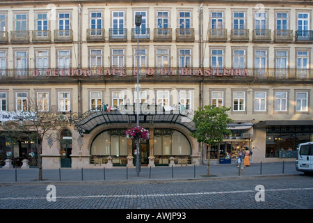 A famous cafe in Porto near the theater called The Brasileira - Stock Photo