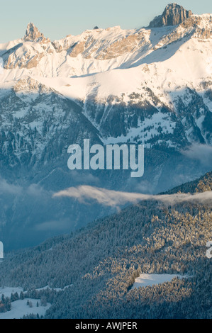 View of alpine peaks after a strong snowfall in the Illiez valley, Western Switzerland - Stock Photo