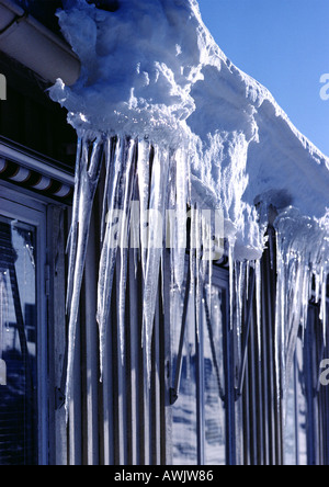 Icicles Hanging From A Snow Covered Roof Oberbergisches