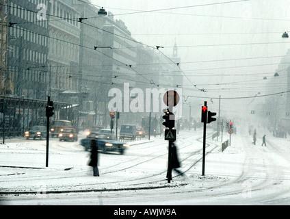 Finland, city street in snow - Stock Photo