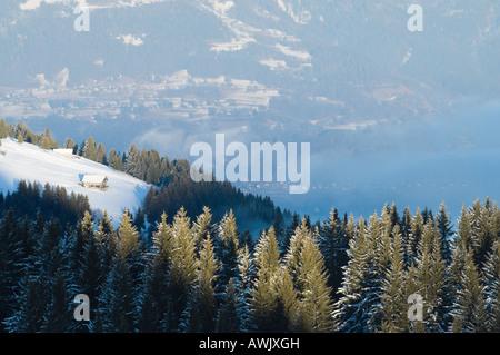 Alpine landscape in the Illiez valley, Western Switzerland, central Europe - Stock Photo