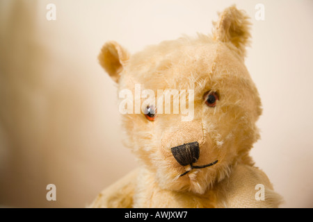 Threadbare golden teddybear portrait - Stock Photo