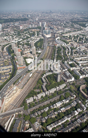 High level oblique aerial view north east of Wetbourne Park Underground Station Grand Union Canal Westway A40 - Stock Photo