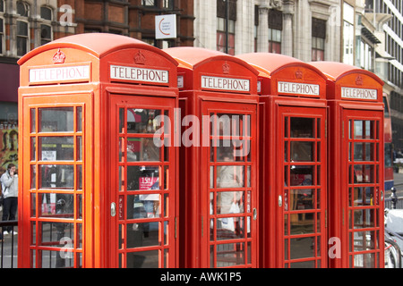 Red telephone boxes on Charing Cross road London WC1 England - Stock Photo