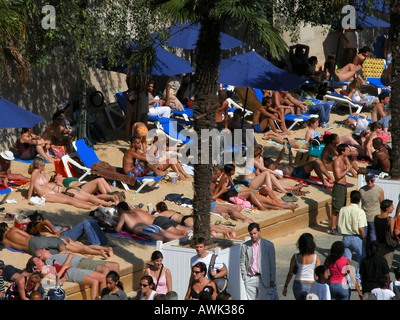 paris view of paris-plage during summer with sunbathers - Stock Photo