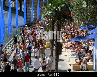 france paris view of paris-plage and its artificial beach - Stock Photo