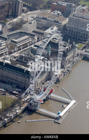 High level oblique aerial view south east of London Eye London Aquarium London SE1 England UK City of London - Stock Photo