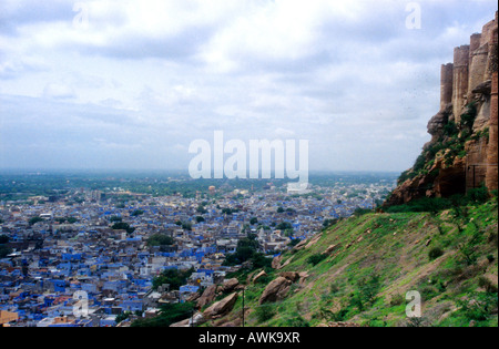 Mehrangarh fort and the blue houses of Jodhpur in Rajasthan, India - Stock Photo