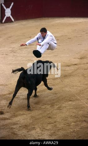 Matador bullfighting in arena Souprosse France - Stock Photo
