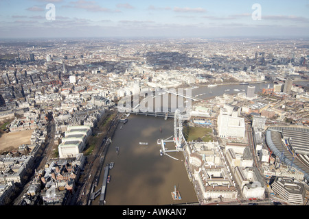 High level oblique aerial view north of London Aquarium Millennium Wheel Waterloo International Station - Stock Photo