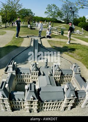 PARIS France, Families Playing on Miniature Golf Course Park, Architectural Model of 'Ho-tel de Ville' - Stock Photo