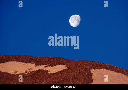 Full moon over mountain, Grand Canyon, Arizona, USA - Stock Photo