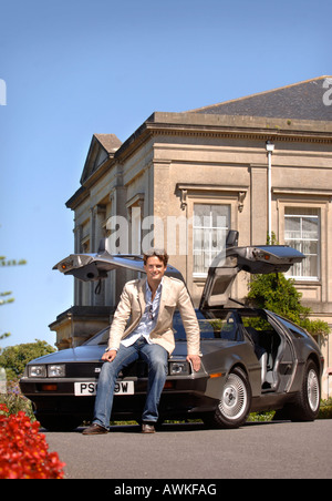 STEPHEN BOWMAN OF THE CLASSICAL POP GROUP BLAKE WITH HIS DE LOREAN CAR AUG 2007 - Stock Photo
