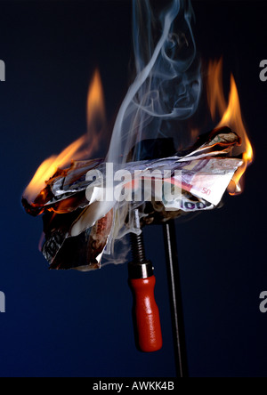 Burning money. - Stock Photo