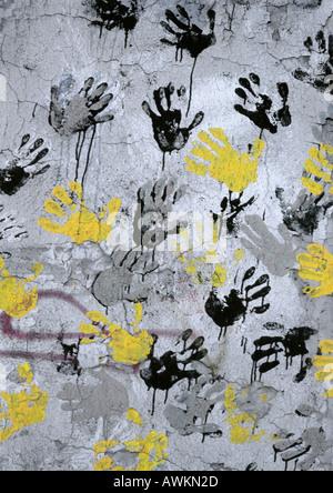 Yellow Black Gray Hand Print On Wall