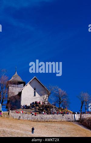 Village church on top of hill, Switzerland