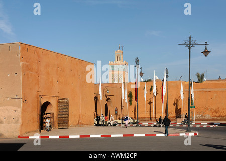 Bab Er Robb historic city gate and walls in Marrakesh, Morocco, Africa - Stock Photo
