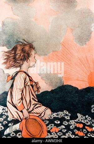 Little Girl at Sunset Illustration - Stock Photo