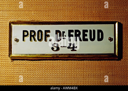 Original name plate at Sigmund Freud's office, Berggasse St., Vienna, Austria, Europe - Stock Photo