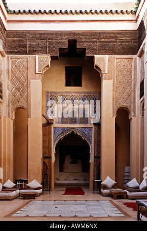 Patio of Riad Dar Charifa, literature café, Medina of Marrakech, Morocco, Africa - Stock Photo