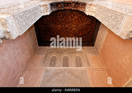 Stucco work and wooden ceiling, small mausoleum of the Saadien Tombs, Medina, Morocco, Africa - Stock Photo