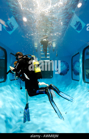 Show diver in the diver's tower, Boot 2008, world's biggest showcase for yachting and water sports, Duesseldorf, - Stock Photo