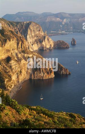 High angle view of coastline, Lipari, Aeolian Islands, Sicily, Italy - Stock Photo