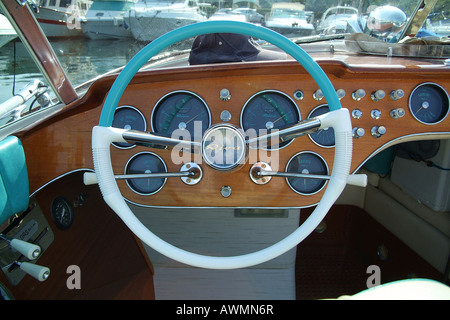 Cockpit, wheel and dashboard, Italian-made Riva Motorboat - Stock Photo