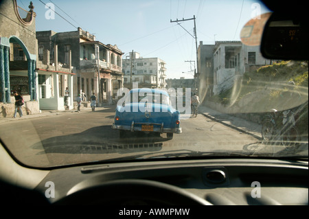 American vintage car in Havana, Cuba, Caribbean - Stock Photo