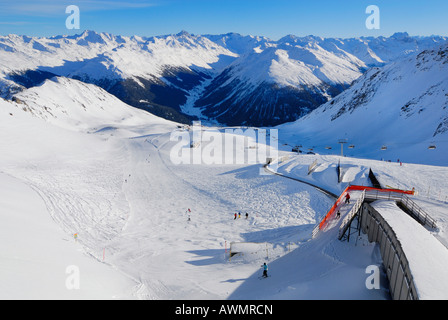 View from the top of Parsenn - Davos, Canton of Graubuenden, Switzerland, Europe. - Stock Photo