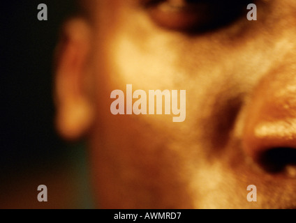 Man's face, partial view, close up, blurred. - Stock Photo