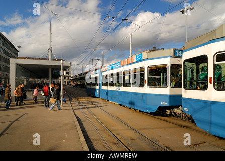 Zuerich - tram stop near central station - Switzerland, Europe. - Stock Photo