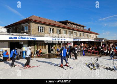 Restaurant on the Iltios mountain - Unterwasser, Canton of St. Gallen, Switzerland, Europe. - Stock Photo