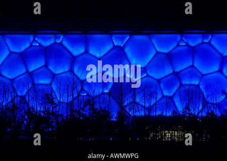 A night view of the water cube the venue for Olympic swimming competitions at the Beijing Olympic Games - Stock Photo