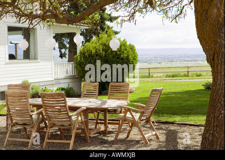Empty table and chairs under tree - Stock Photo