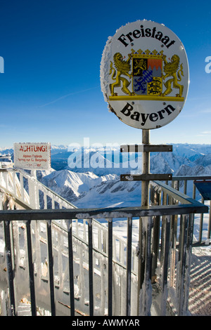 German side of the border between Austria and Germany on Mt. Zugspitze, Bavaria, Germany, Europe - Stock Photo