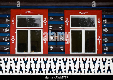 Traditionally painted house in the village of Zdiar, High Tatra Mountains, Slovakia, Europe - Stock Photo