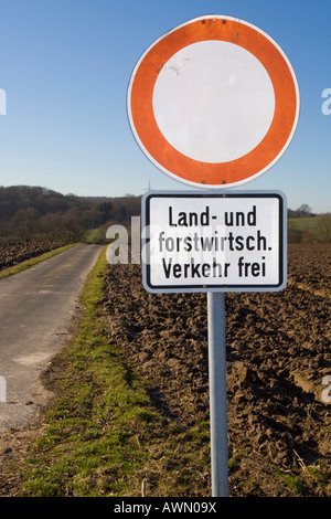 Sign: No entry, agricultural vehicles only, Germany, Europe - Stock Photo