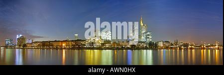 Frankfurt skyline featuring the Commerzbank and Main Bridge, Frankfurt, Hesse, Germany, Europe - Stock Photo