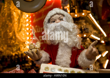 Santa Claus, Christmas market at Roemer Square in Frankfurt, Hesse, Germany, Europe - Stock Photo