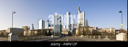 Panorama skyline of Frankfurt, view from Untermainbruecke to the high-rise buildings of Frankfurt with Commerzbank - Stock Photo